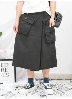 1916-1149- 古靈・精怪 - 兩側袋 X 後腰橡根 , 麻棉料裙褲 (韓國)
