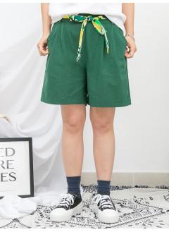 1916-1154- 重點・腰帶 - 兩側袋 X 前腰打摺 X 後腰橡根 , 麻棉料短褲 (連花花PATTERN腰帶) (韓國)