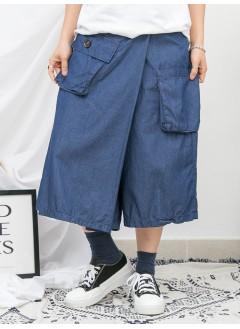 1916-1149a- 古靈・精怪 - 兩側袋 X 後腰橡根 , 薄牛仔料裙褲 (韓國)