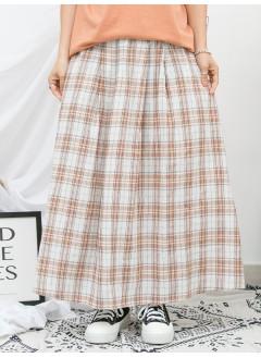 1916-1132a-美美・格子- 兩側袋 X 腰位打摺 , 格仔PATTERN麻棉料 X 橡根腰 , 半截裙 (韓國)0