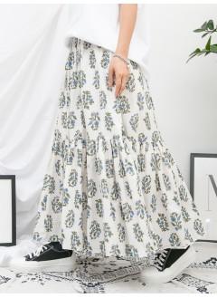 1916-1163- 清新・腰果 - 下擺打摺 X 腰果花PATTERN , 後腰橡根 X 側腰拉鏈 , 恤衫料半截裙 (有厘布) (韓國)