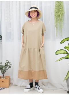 1916-1142- 杏色・麻子 - 兩側袋 X 腰位打摺 , 深, 淺拼色麻棉料OPS (韓國)