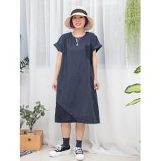 1916-1144a- 和風・蕾絲 - 前袋仔 X 下擺 ' 通通 ' 刺繡 X 兩側袋 , 麻棉料OPS (韓國)