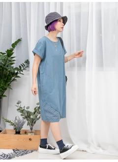 1916-1144- 和風・蕾絲 - 前袋仔 X 下擺 ' 通通 ' 刺繡 X 兩側袋 , 麻棉料OPS (韓國)