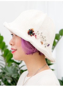 1919-1010- 清雅・文青 - 立體花花刺繡 , 漁夫帽 (韓國)0