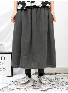 1916-1138a- 最愛 ・ 通花 - 兩側袋 X 橡根腰 , 花花 , 通通刺繡麻棉料 , 半截裙 (有厘布) (韓國)