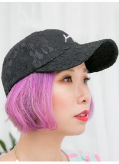 1919-1011- 韓風・lace - 英文字刺繡 X 通花LACE , CAP帽 (韓國)-