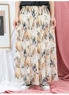 1916-1185-夢幻・雪紡- 幾何圖形PATTERN X 百摺 , 橡根腰 X 雪紡料半截裙 (有厘布) (韓國)