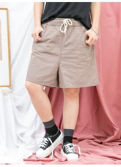 1916-1170-夏日・舒適- 兩側袋 X 橡根腰 , 麻棉料短褲 (韓國)