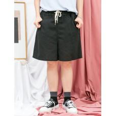 1916-1170b-夏日・舒適- 兩側袋 X 橡根腰 , 麻棉料短褲 (韓國)