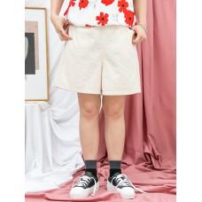 1916-1170a-夏日・舒適- 兩側袋 X 橡根腰 , 麻棉料短褲 (韓國)