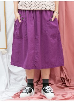 1916-1190-happy.color- 兩側袋 X 釘鈕 , 橡根腰 X 麻棉料半截裙 (韓國)-