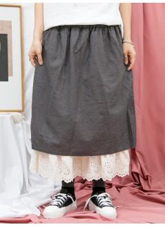 1916-1189- 古靈・精怪 - 兩側袋 X 橡根腰 , 下擺通花刺繡恤衫料 X 拼色麻棉料裙褲 (韓國)0