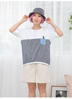 1911-1308 - 可愛・小熊 -小袋仔 X 小熊刺繡 , 直紋恤衫料 X 淨色COTTON料TOP (韓國)0
