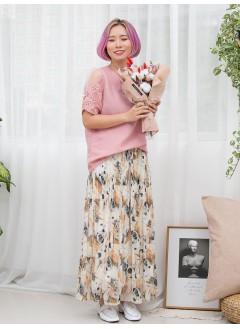 1911-1302- sweety . pink - 手袖通花刺繡 X 網布 , 膊位打摺 X 釘珍珠 , 淨色麻棉料TOP (韓國)0