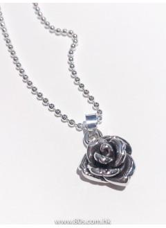 193-1004 -優雅 . 氣質 -立體玫瑰花頸鏈 (全純銀)