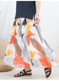 1916-1188 - colorful -潑墨 X 拼色PATTERN , 百摺 X 橡根腰 , 雪紡料半截裙 (有厘布) (韓國)