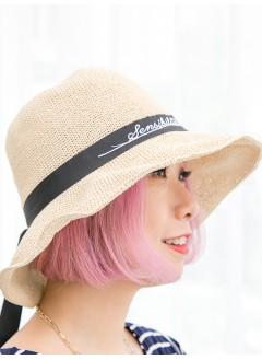 1919-1013 - 型格・草織帽 -英文字PRINT X 蝴蝶結織帶 , 草織帽 (韓國)