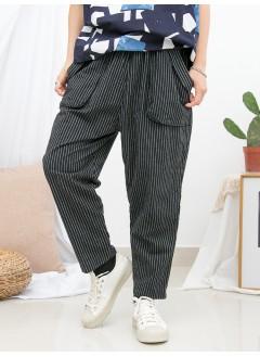 1916-1193-強烈推介- 兩側袋 X 橡根腰 , 直紋 X 少低浪 , 麻棉料直腳褲 (韓國)-
