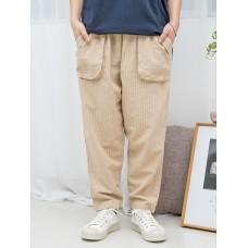 1916-1193A- 強烈推介 - 兩側袋 X 橡根腰 , 直紋 X 少低浪 , 麻棉料直腳褲 (韓國)-