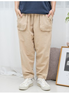 1916-1193A- 強烈推介 - 兩側袋 X 橡根腰 , 直紋 X 少低浪 , 麻棉料直腳褲 (韓國)0