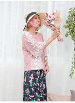 1911-1333 -ruffles lace 手袖-手袖 , 兩旁通花刺繡 ,網布 X 釘珍珠 , 手袖DOUBLE LAYER X 淨色COTTON料TOP (韓國)0