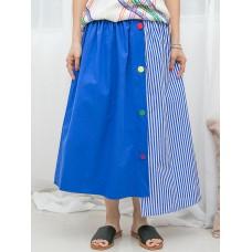 1916-1203-special・style- 不規則下擺 X 釘彩色鈕 , 後腰橡根 X 前腰打摺 , 直紋 X 淨色恤衫料 , 半截裙 (韓國)0