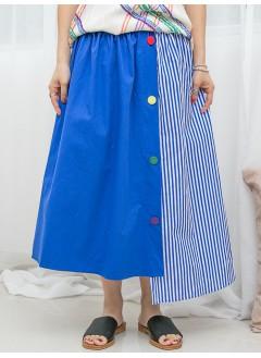 1916-1203-special・style- 不規則下擺 X 釘彩色鈕 , 後腰橡根 X 前腰打摺 , 直紋 X 淨色恤衫料 , 半截裙 (韓國)
