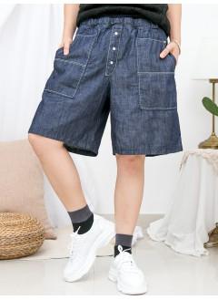 1916-1227- 日系・靚短牛 - 兩側袋 X 腰位DOUBLE LAYER RUFFLE邊 X 羅紋料橡根腰 , 牛仔料短褲 (韓國)0