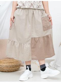 1916-1207-lace&ruffles・小日系- 下擺打摺 X 兩側袋 , 通通刺繡 X 淨色麻棉料 , 橡根腰半截裙 (韓國)0