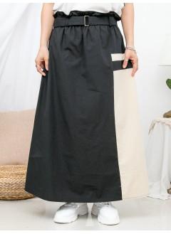 1916-1231-個人・獨特- 橡根腰 X RUFFLE邊 , 拼色恤衫料半截裙 (連腰帶) (有厘布) (韓國)0