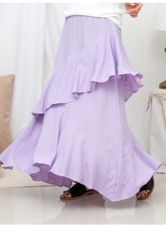 1916-1224-浪漫.ruffles- 不規則下擺 X RUFFLE邊 , 橡根腰 X 麻棉料半截裙 (韓國)0