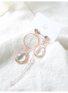 191-1023- 流水・瞬間 -- 玫瑰金色水滴耳環(韓國)