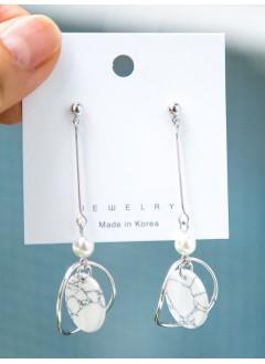 191-1019珍珠雲石耳環(韓國)