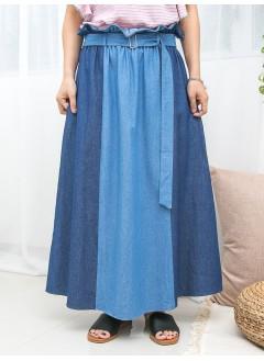 1916-1228- 獨特・牛仔裙 - 兩側袋 X 橡根腰 , RUFFLE邊 , 深, 淺拼色薄牛仔料半截裙 (連腰帶) (韓國)0