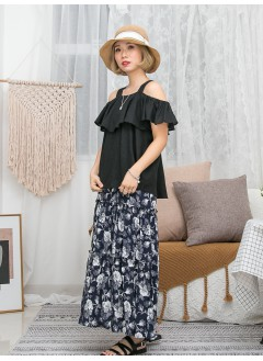 1911-1386- off shoulders - 胸位RUFFLE X 手袖橡根 , 麻棉料 X OFF SHOULDERS TOP (韓國)0