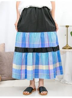 1916-1250- 藍.格.美 - 層層打摺 X 兩側袋 , 格仔PATTERN X 淨色恤衫料 , 橡根腰半截裙 (韓國)0