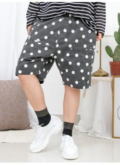 1916-1247- 舒適 . 日系點點子 - 兩側袋 X 點點PATTERN , 橡根腰 X 麻棉料短褲 (韓國)0
