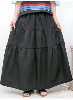 1916-1256a-日系.蛋糕裙- 層層打摺 X 橡根腰 , 風褸料半截裙 (韓國)0