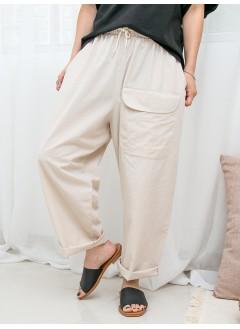 1916-1255-超舒服.日系褲- 前袋 X 兩側袋 , 橡根腰 X 風褸料 , 少低浪直腳褲 (韓國)0