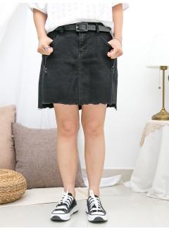 1916-1260- 靚版型・黑牛 - 爛爛 X 彈力牛仔料裙褲 (韓國)0