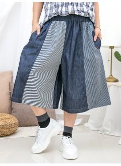 1916-1265- 日系・ 拼布條子 - 兩側袋 X 橡根腰 , 直紋 X 淨色薄牛仔料 , 闊褲 (韓國)