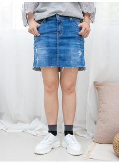 1916-1268- 靚 Vintage 洗水裙褲 - 爛爛 X 洗水 , 彈力牛仔料裙褲 (韓國)