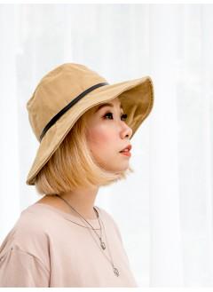 1919-1028A- 秋意・帥氣 -仿皮邊 X 扯布料 , 漁夫帽 (韓國)-