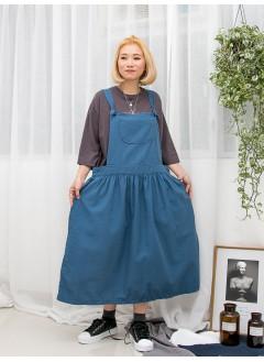 1916-1298 -- 自由・配搭 -- 兩側袋 X 腰位打摺 , 扯布料 X 吊帶工人裙 (韓國)0