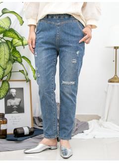 1916-1302- 復古・藍牛 - 兩側袋 X 橡根腰 , 爛爛 X 洗水 , 直腳牛仔褲 (韓國)