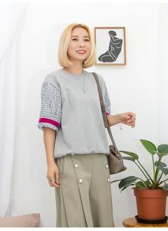 1911-1512A - Tweed・優美 -袖口SOSO邊 X 拼色織帶 , 手袖花呢布料 X 淨色薄衛衣料TOP (韓國)0
