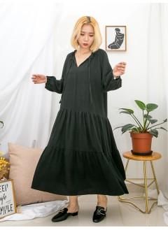 1916-1319-韓系・黑裙子- 領位RUFFLE邊 X 束帶 , 層層打摺 X 麻棉料OPS (韓國)0
