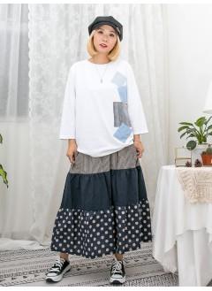 1911-1491 - 日系・拼布 - 深淺牛仔料拼布 X 直紋小袋仔 , 羅紋料領位 X 薄衛衣料TOP (韓國)
