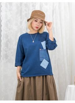 1911-1490 -日系・藍調-深淺牛仔料拼布 X 小袋仔 , 羅紋料領位 X 薄衛衣料TOP (韓國)0